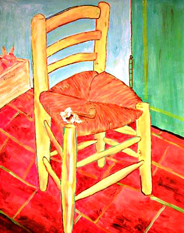 RG - reproducción van gogh - la silla de vincent en arles -  por romina guerra en pintura acrílica - 01