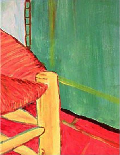 RG - reproducción van gogh - la silla de vincent en arles - por romina guerra en pintura acrílica - DETALLE Y ESTUDIO - 09
