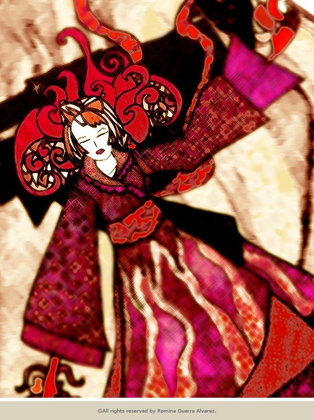 RG - Dibujo Rojo Oriental por Romina Guerra - ©Todos los derechos reservados por Romina Guerra Alvarez.