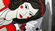 RG - Pintura Hojas Cayendo Frente al Mauco por Romina Guerra - ©Todos los derechos reservados por Romina Guerra Alvarez.