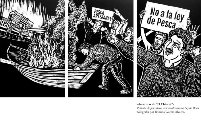 RG - Xilografía - Aventuras de El Chincol - por Romina Guerra 2015 - ©Todos los derechos reservados por Romina Guerra Alvarez.